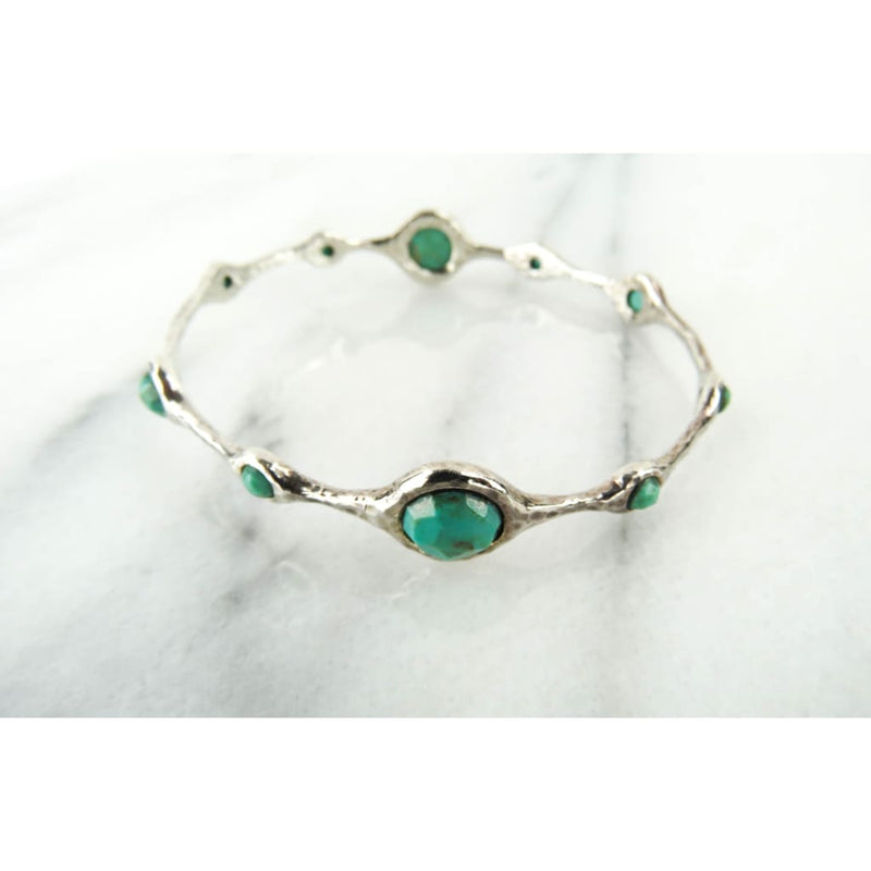Ippolita Turquoise Sterling Silver 10 Station Bangle Bracelet - Bracelet