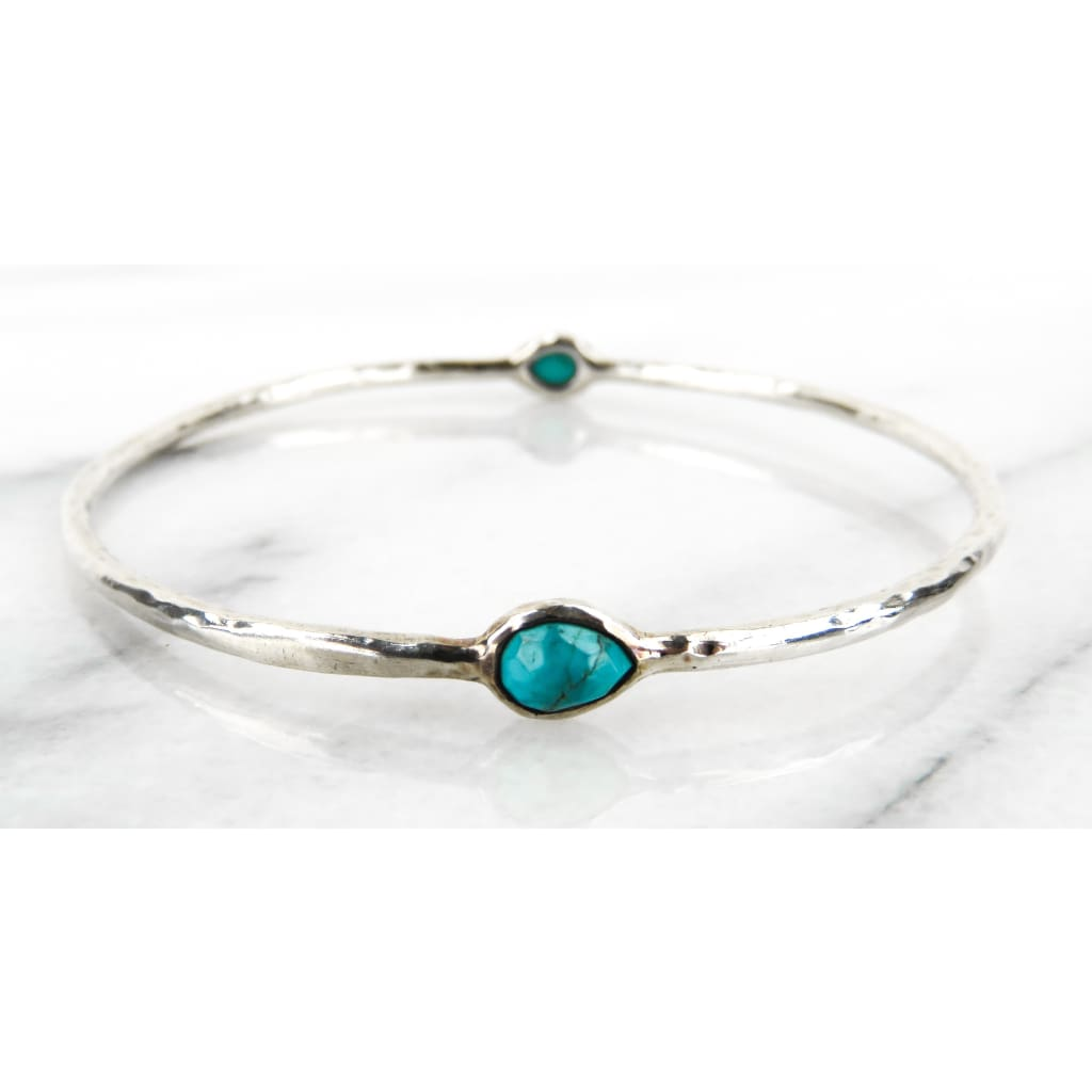 Ippolita Turquoise Sterling Silver 2 Station Bangle Bracelet - Bracelet