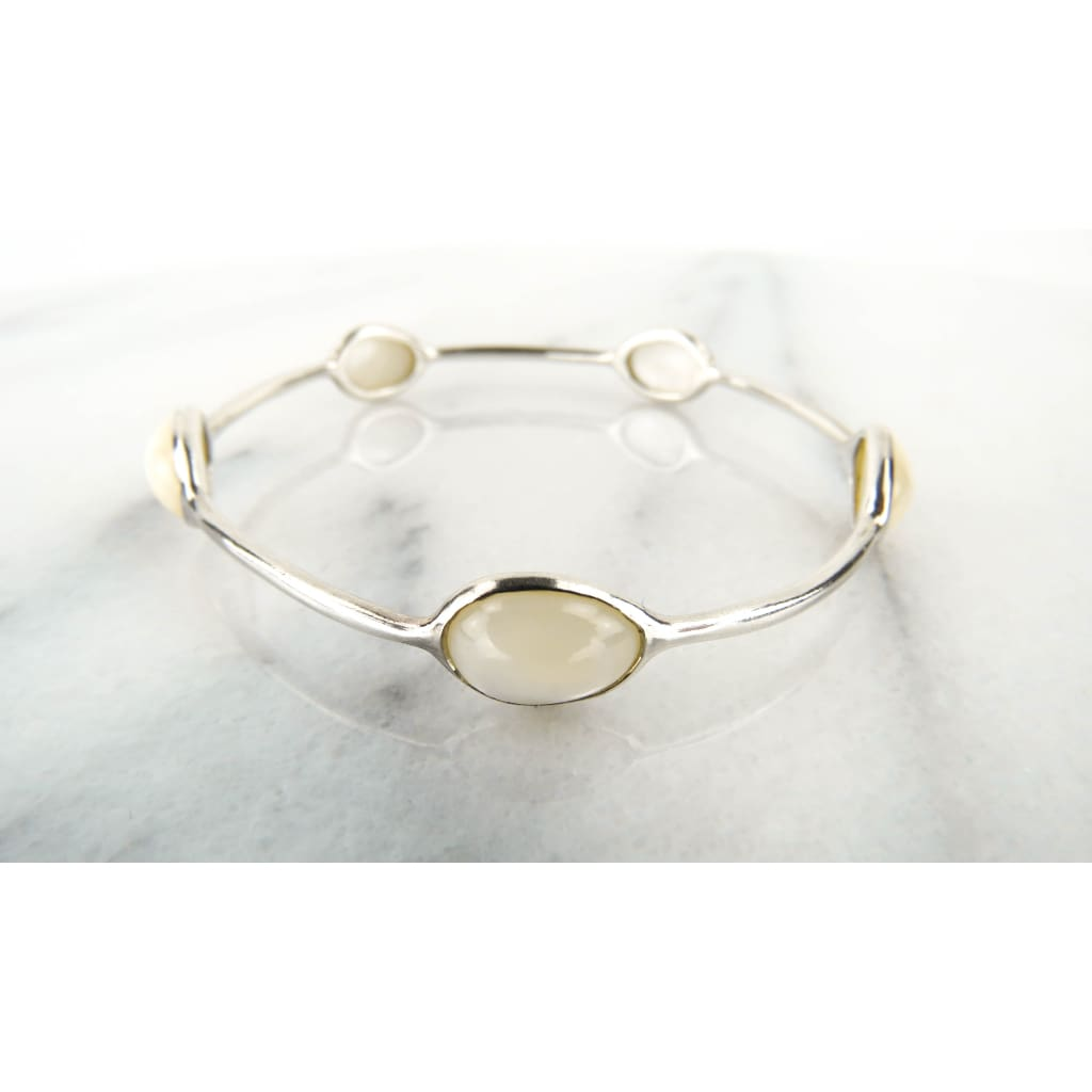 Ippolita White Mother of Pearl Sterling Silver 5 Station Bangle Bracelet - Bracelet