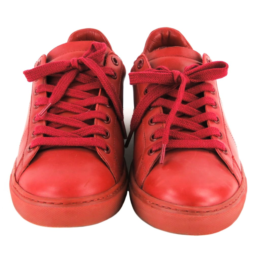 IRO Red Leather Lace Up Low Top Sneakers - Sneakers