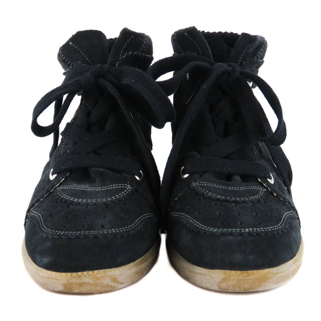 94d2c7b6181b Isabel Marant Black Suede Bobby Lace Up Wedge Sneakers - Sneakers