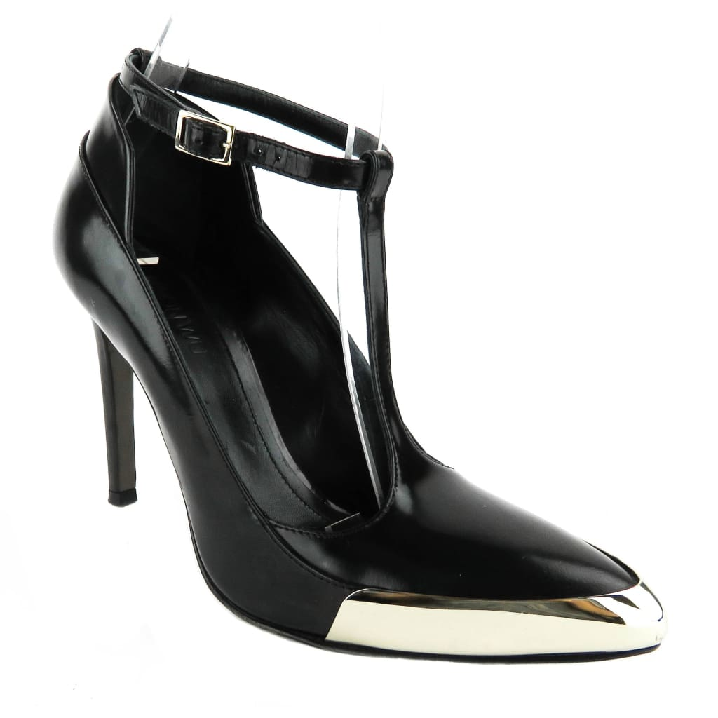 Jason Wu Black Leather T-strap Metallic Pumps - Heels