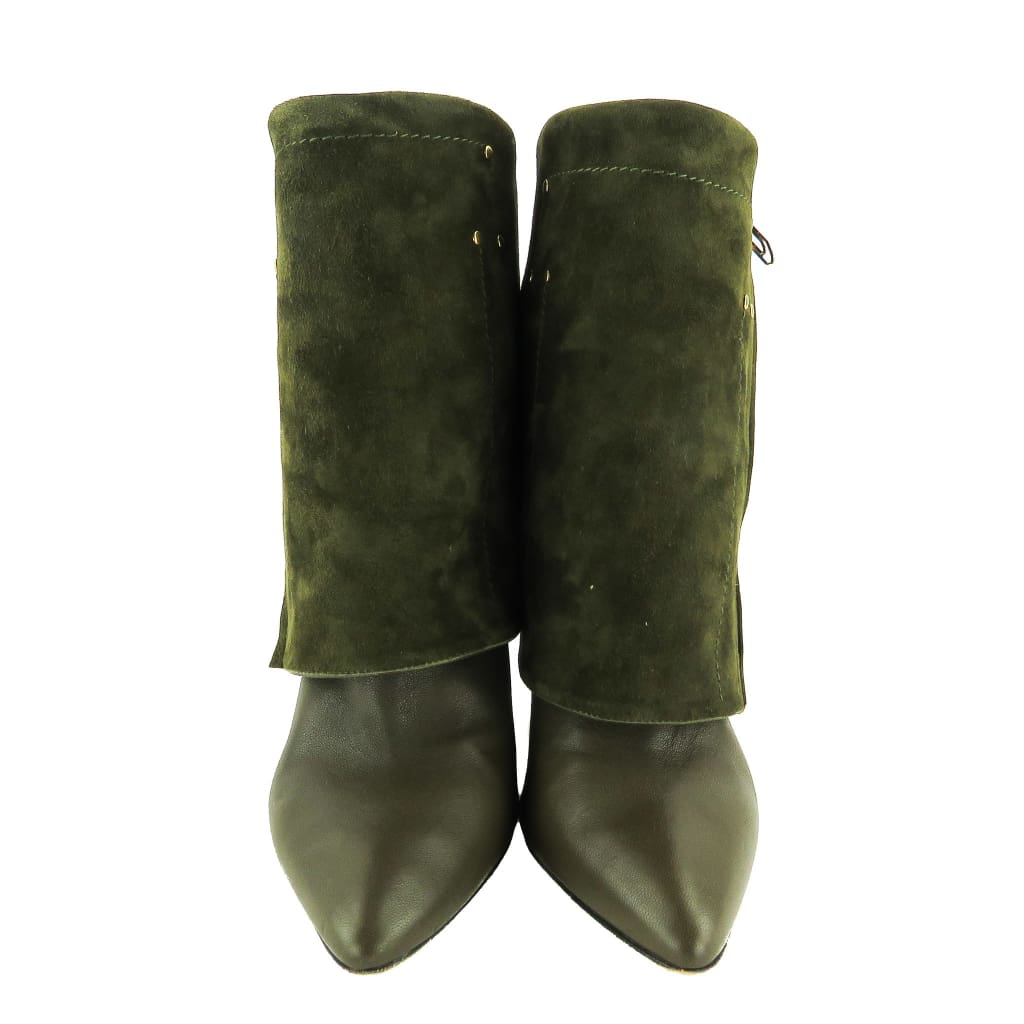 Jerome Dreyfuss Olive Green Leather and Suede Biboots Zipper Ankle Boots - Boots/Rain Boots