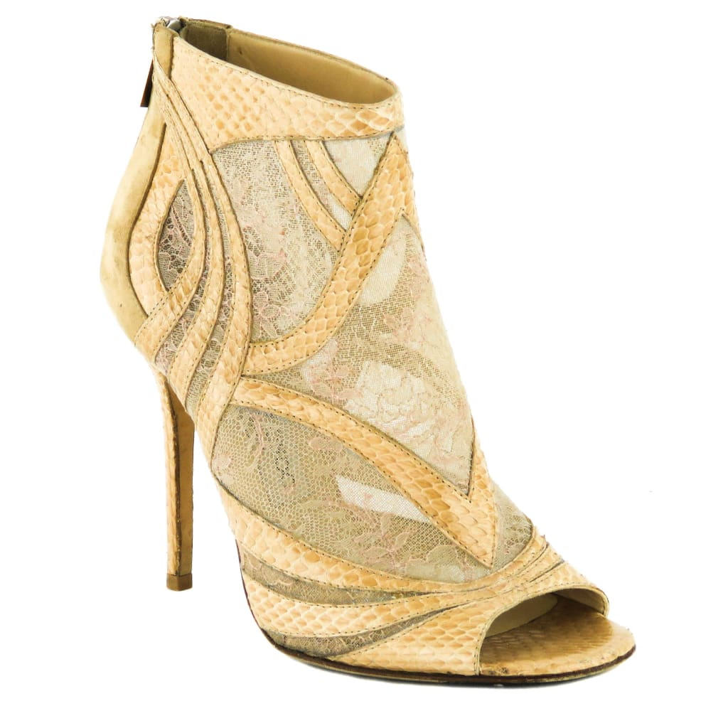 Jimmy Choo Beige Lace Python Nexus Ankle Booties - Bootie