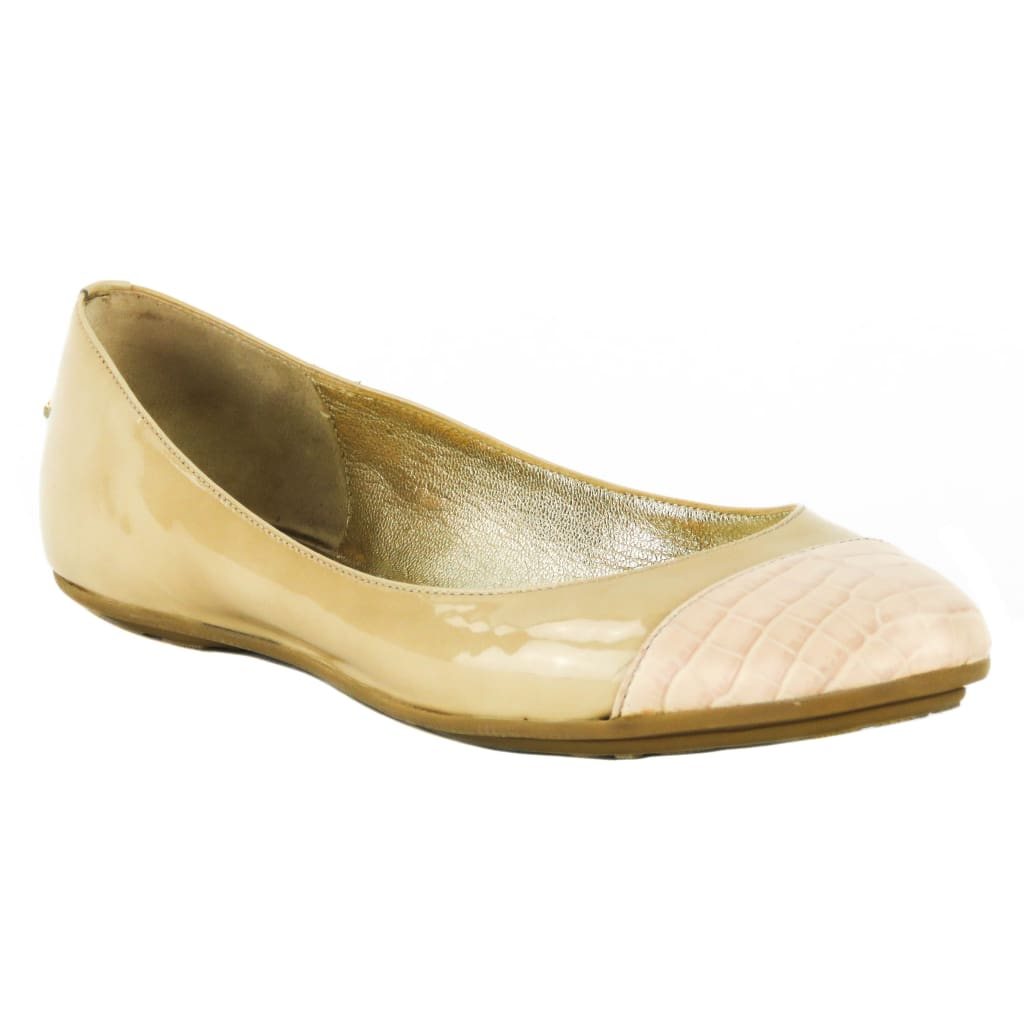 Jimmy Choo Beige Patent Leather Embossed Cap Toe Flats - Flats
