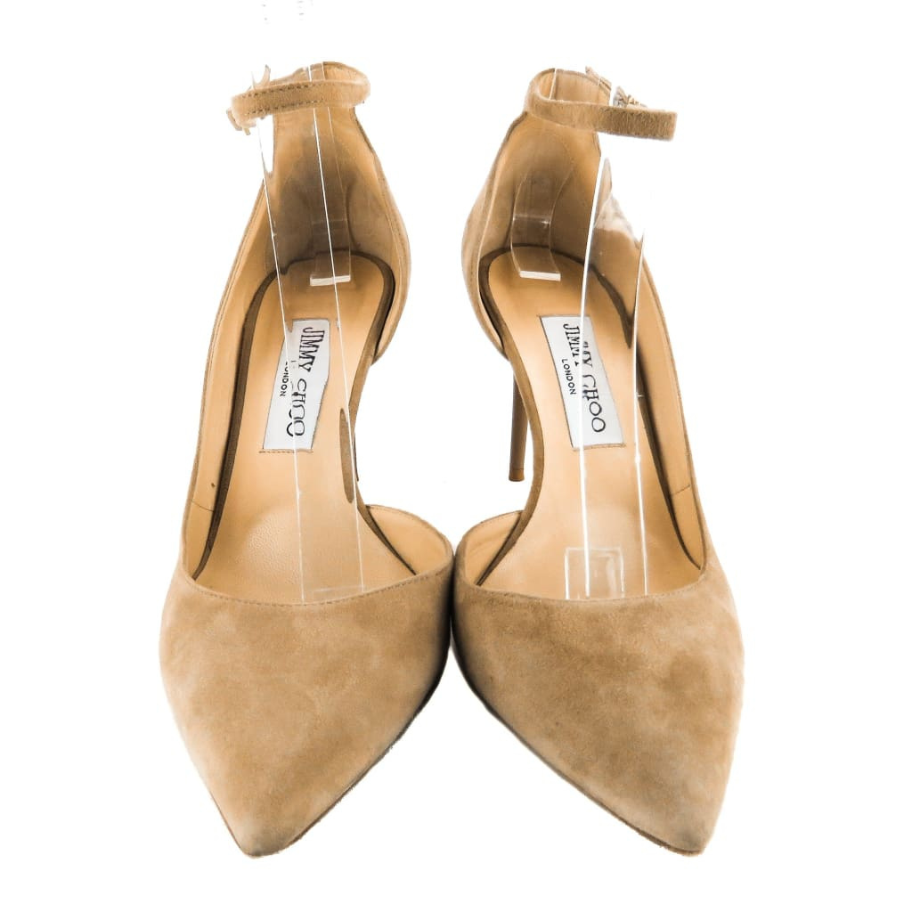 Jimmy Choo Beige Suede Lucy Half DOrsay Pumps - Pumps