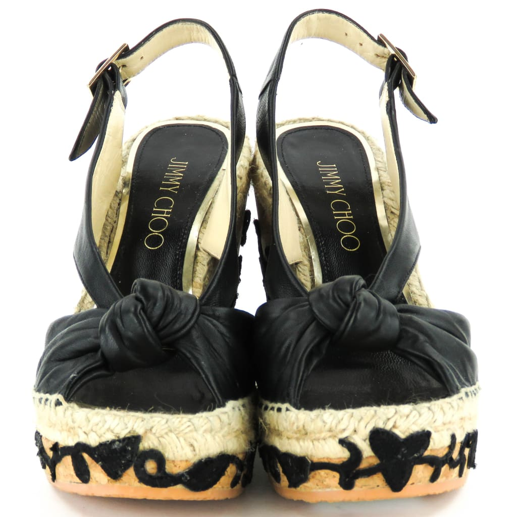 Jimmy Choo Black Leather Lace Embroidered Cork Wedges - Wedges