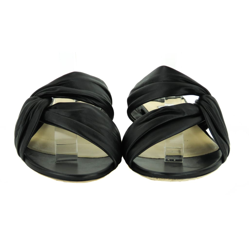 Jimmy Choo Black Leather Lela Flat Slide Sandals - Sandals