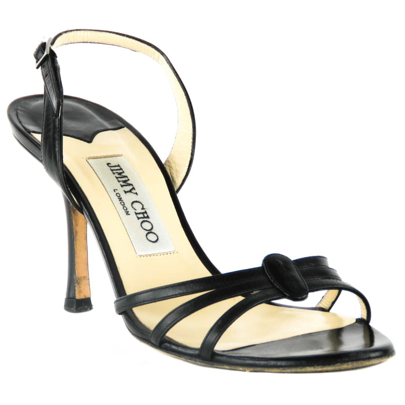 Jimmy Choo Black Leather Open Toe Slingback Sandal Heels - Heels