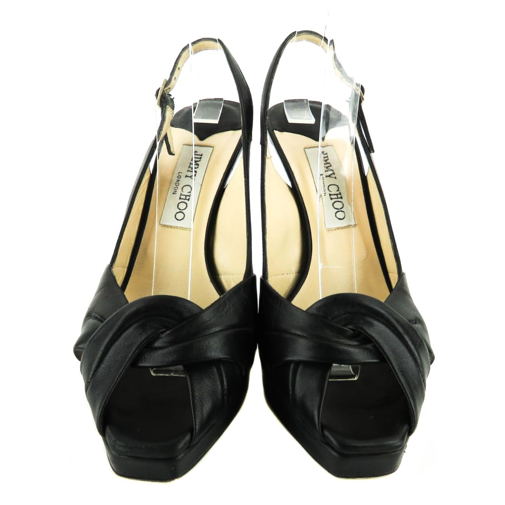 Jimmy Choo Black Leather Poem Slingback Peep Toe Heels - Heels