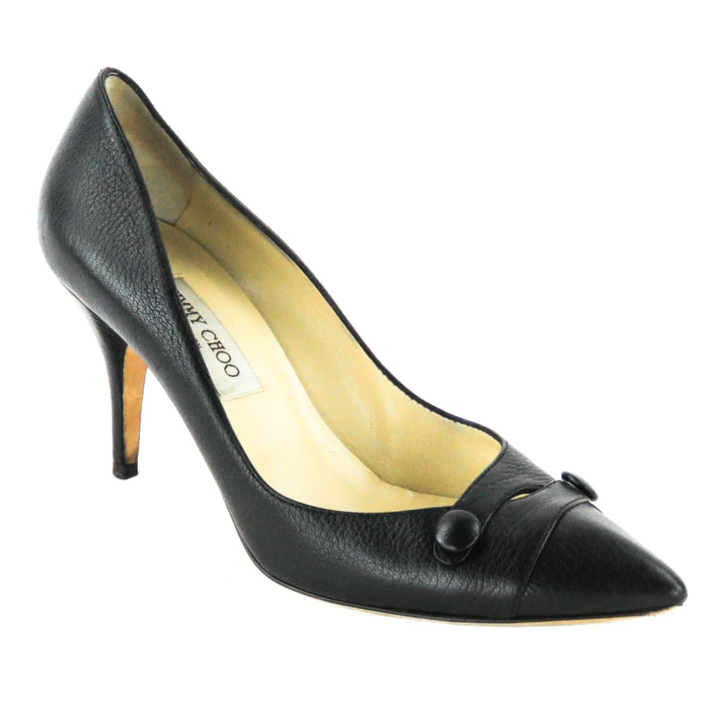 Jimmy Choo Black Leather Pointed Toe Heels - Heels