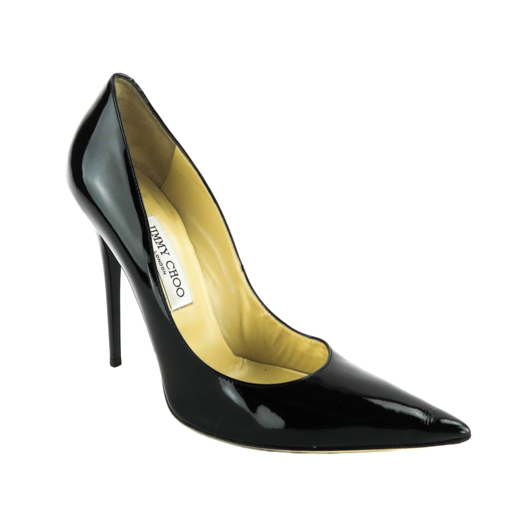 Jimmy Choo Black Patent Leather Anouk Heel Pumps - Heels