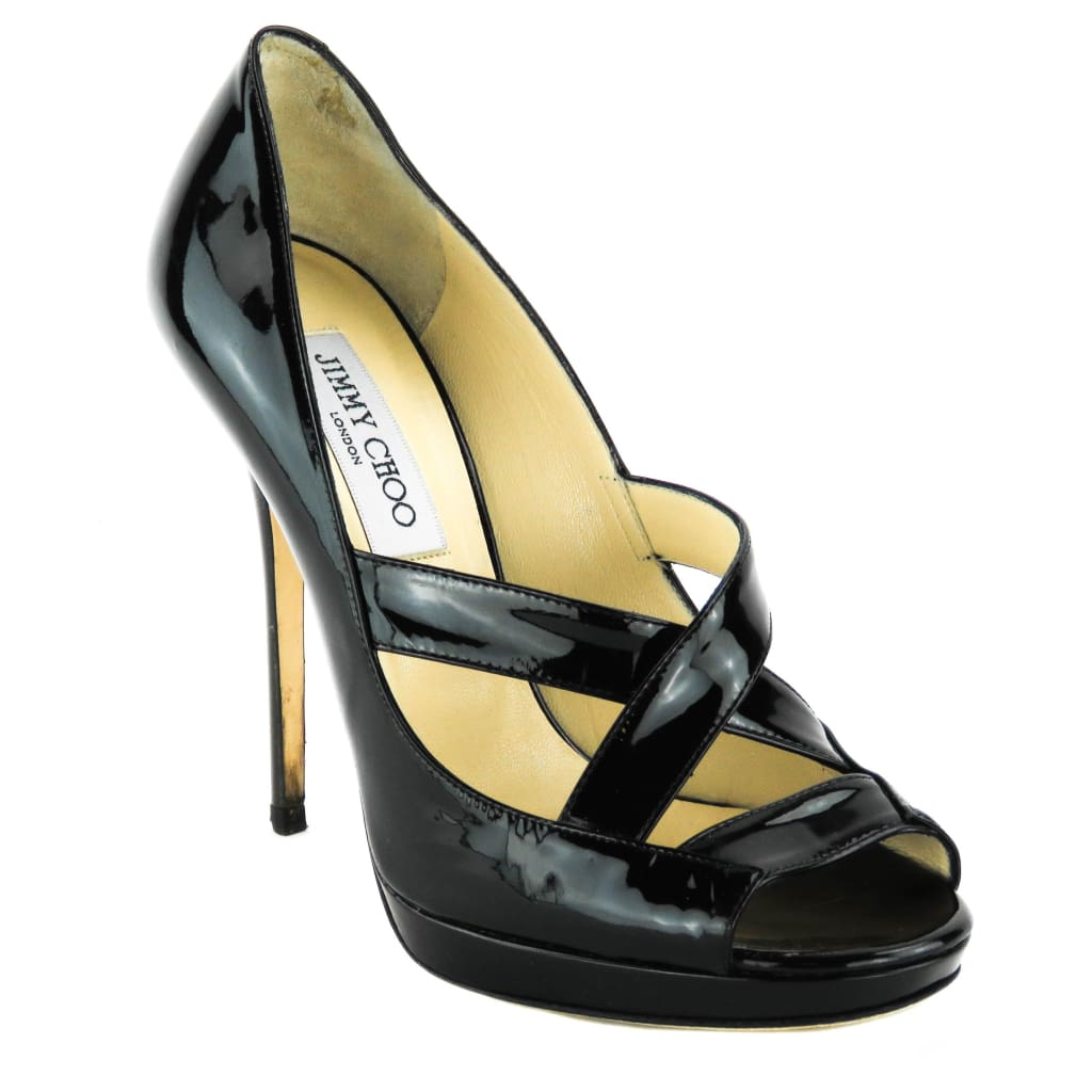 Jimmy Choo Black Patent Leather Gesture Platform Pumps - Heels