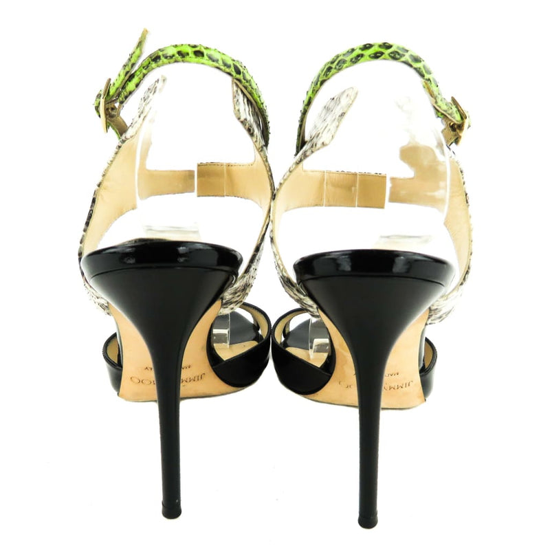 Jimmy Choo Black Patent Leather Marcia Snake Sandal Heels - Heels