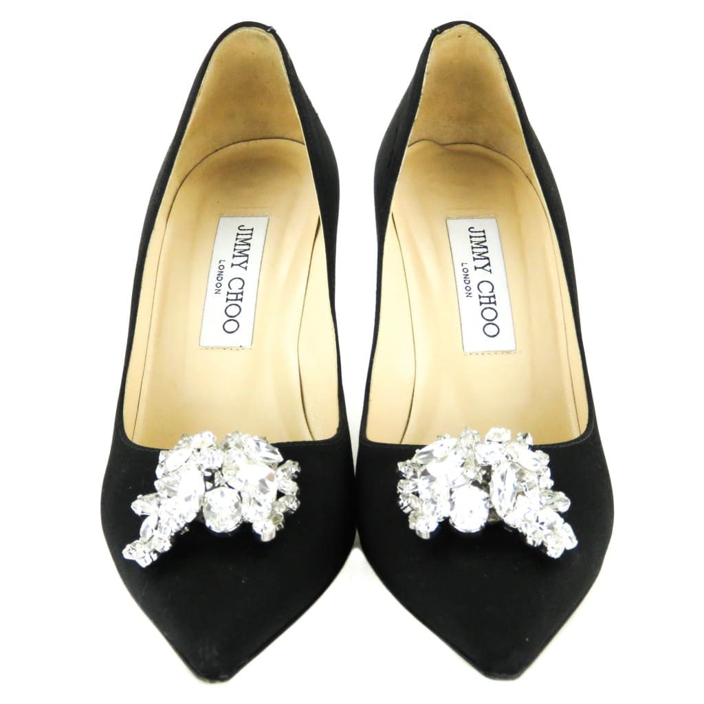 Jimmy Choo Black Satin Mamey Crystal Embellished Pointed Toe Pumps - Heels