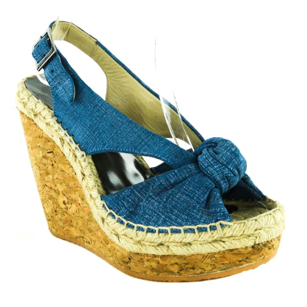 Jimmy Choo Blue Denim Parisa Knotted Cork Sandal Wedges - Wedges
