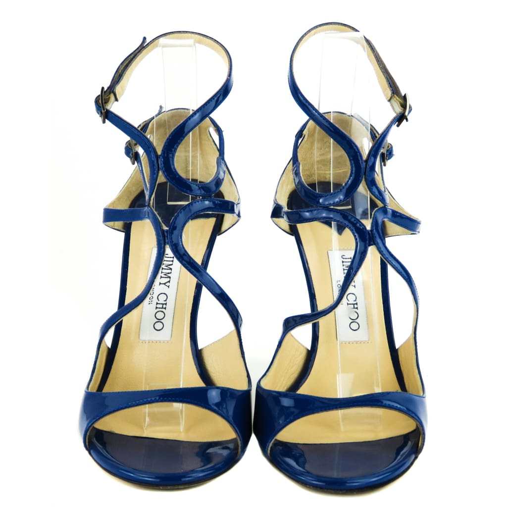 Jimmy Choo Blue Patent Leather Lang Strappy Sandal Heels - Heels