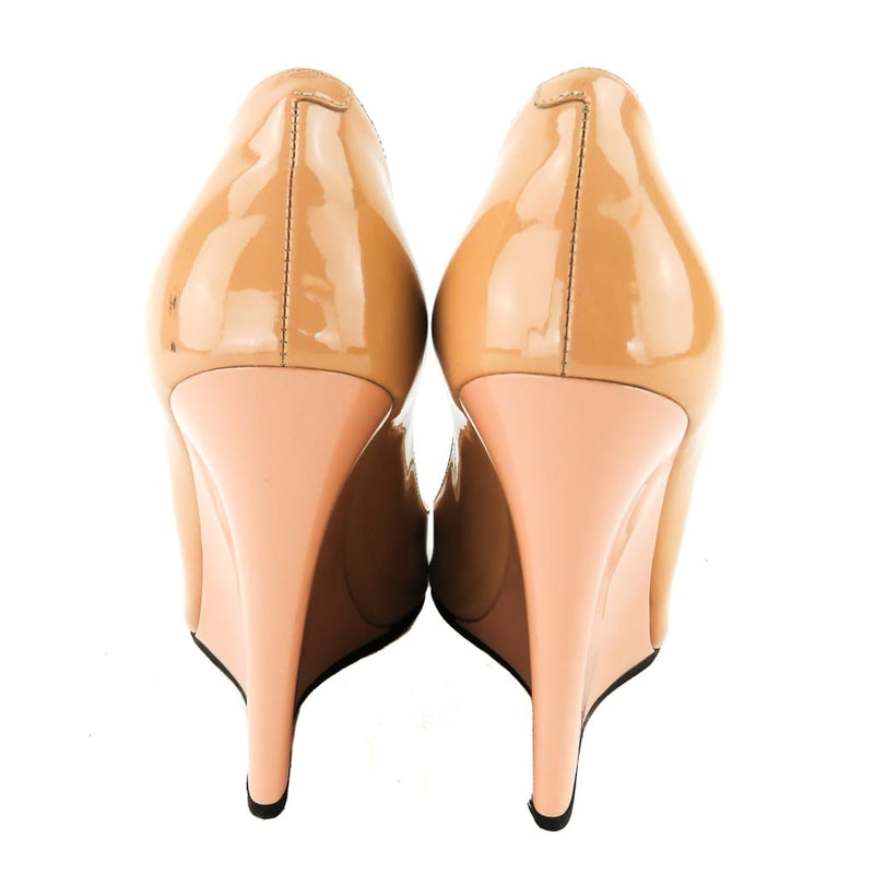 Jimmy Choo Blush Pink Patent Leather Beil Peep Toe Wedges - Wedges