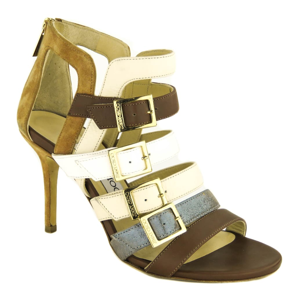 4757ebaac Jimmy Choo Brown Leather Bronx Mix Strappy Sandal Heels - Sandals