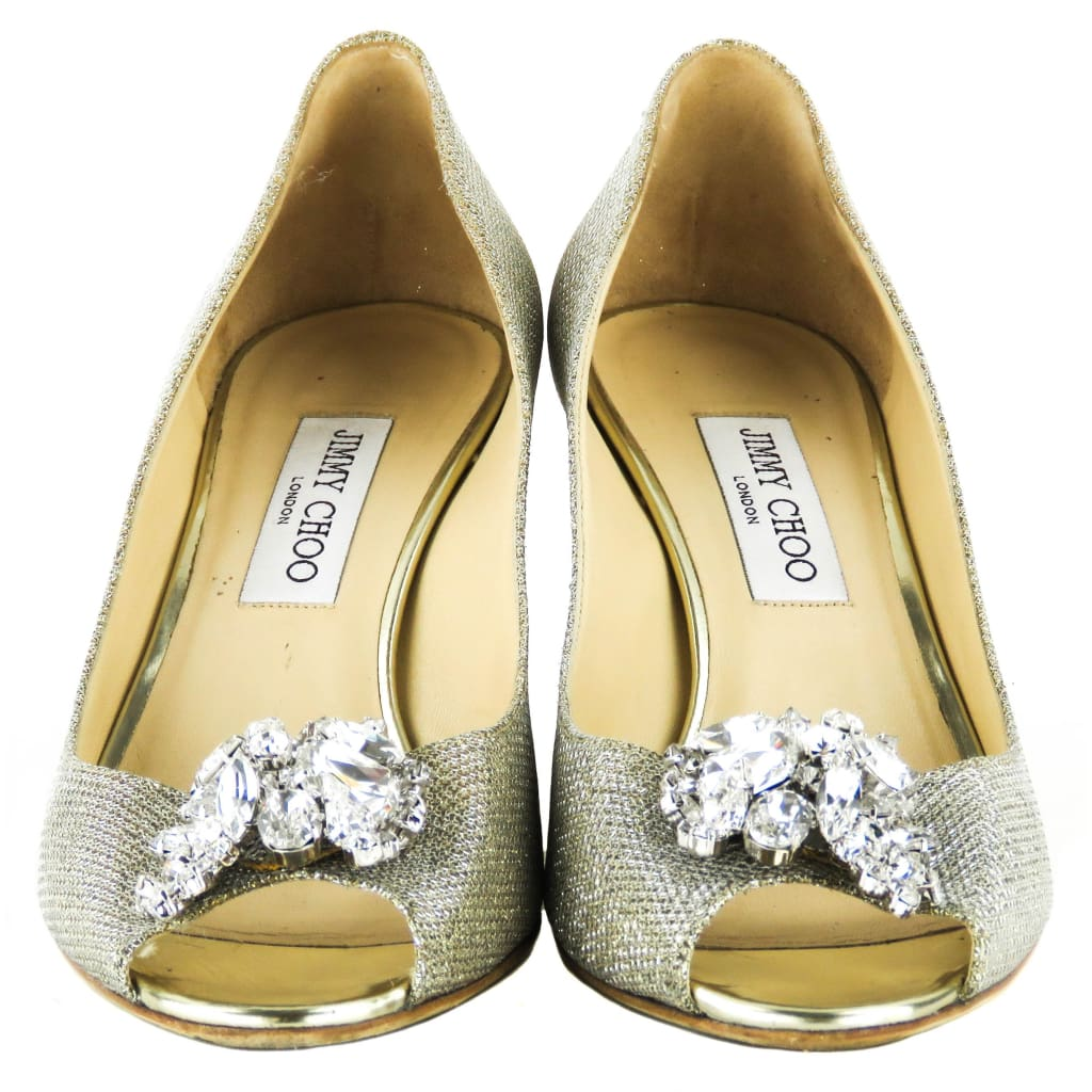 Jimmy Choo Gold Glitter Lame Crystal Letina Open-Toe Heels - Heels