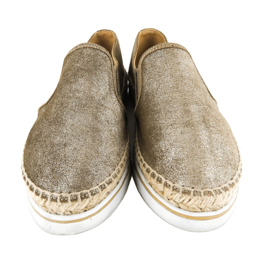 Jimmy Choo Gold Metallic Leather Dawn Espadrille Sneakers - Espadrilles