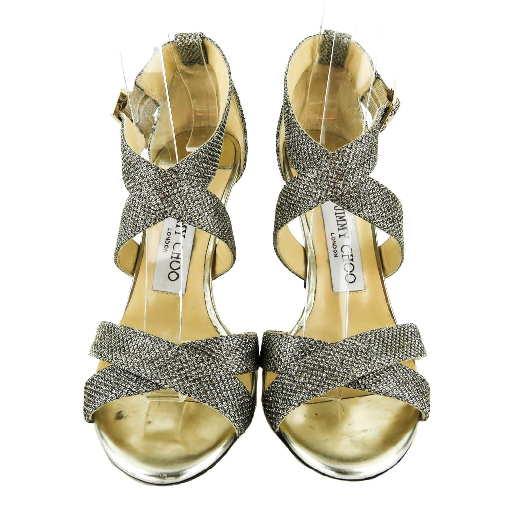 Jimmy Choo Metallic Gold Lamé Fabric Open Toe Sandal Heels - Heels