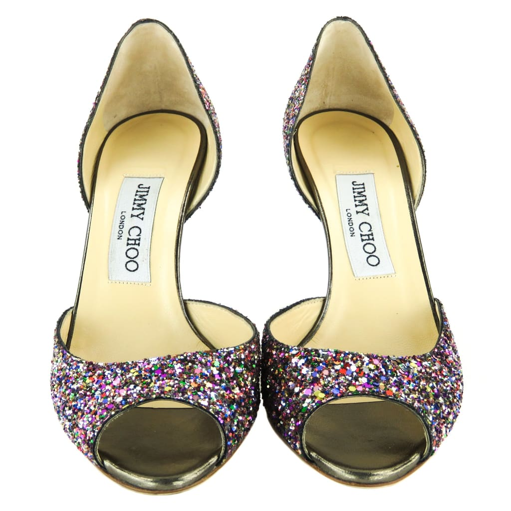 Jimmy Choo Multicolor Glitter Dorsay Peep Toe Pumps - Heels