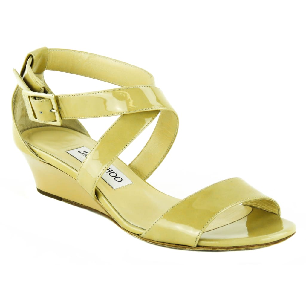 Jimmy Choo Nude Patent Leather Chiara Sandal Wedges - Wedges