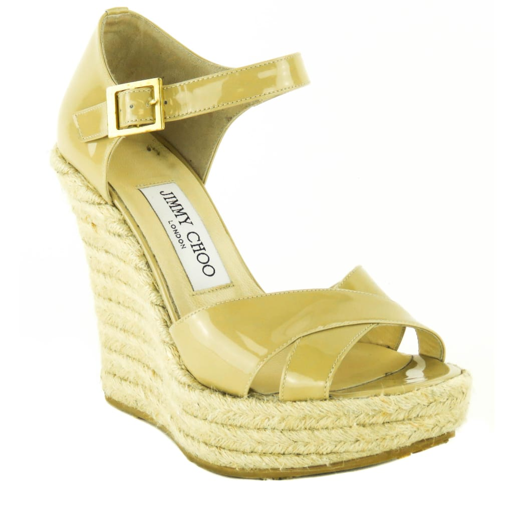 Jimmy Choo Nude Patent Leather Pallis Espadrille Wedges - Wedges