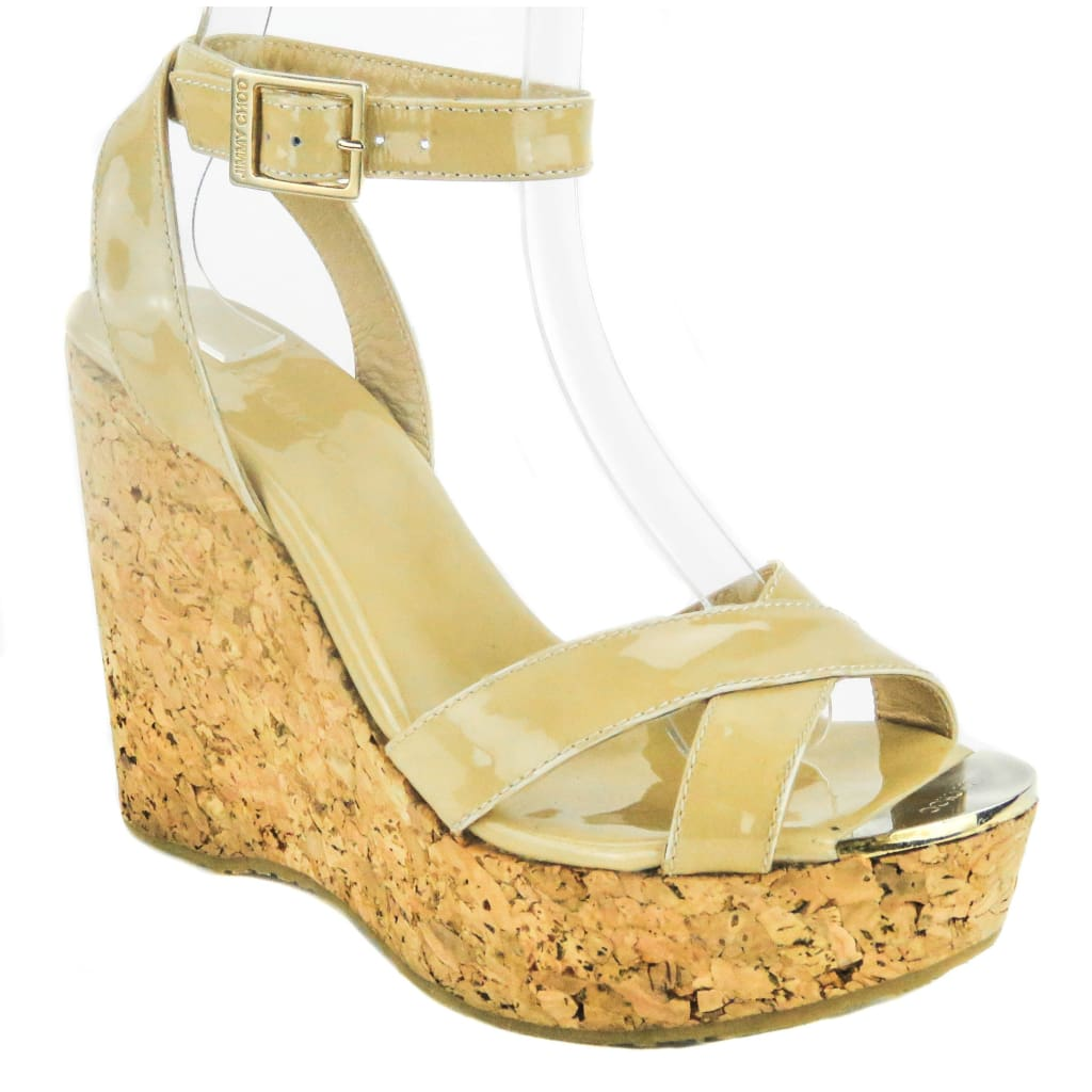 541248f95 Jimmy Choo Nude Patent Leather Papyrus Cork Sandal Wedges - Wedges