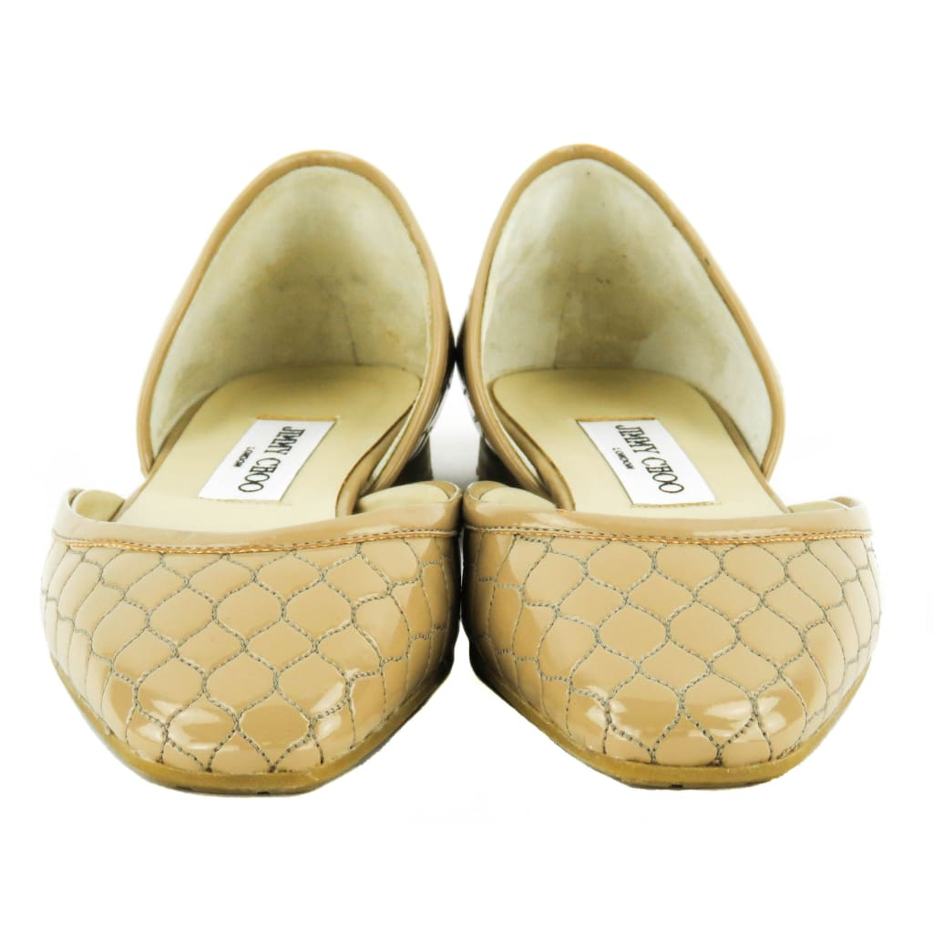 Jimmy Choo Nude Patent Leather Quilted Dorsay Flats - Flats