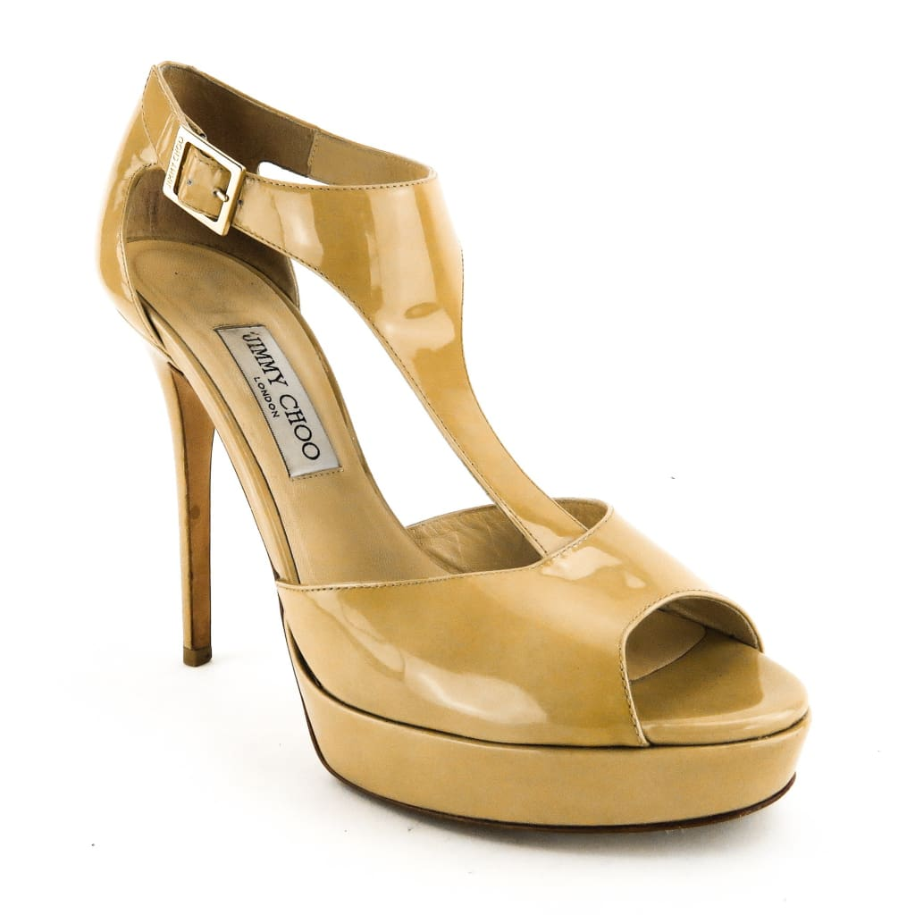 Jimmy Choo Nude Patent Leather Totem T-Strap Platform Heels - Heels