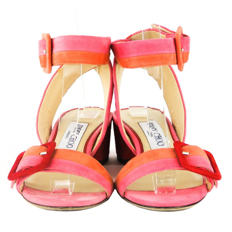 Jimmy Choo Orange and Pink Suede Patchwork Flamingo Mix Dacha Sandal Heels - Heels