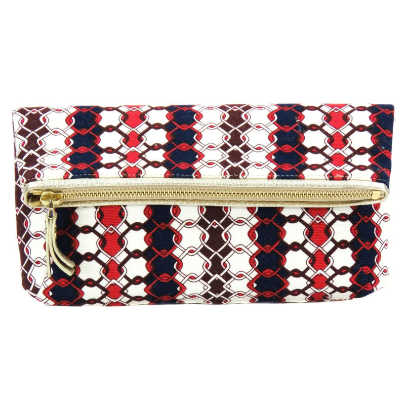 Jimmy Choo Red and Blue Multicolor Canvas Clutch - Clutches