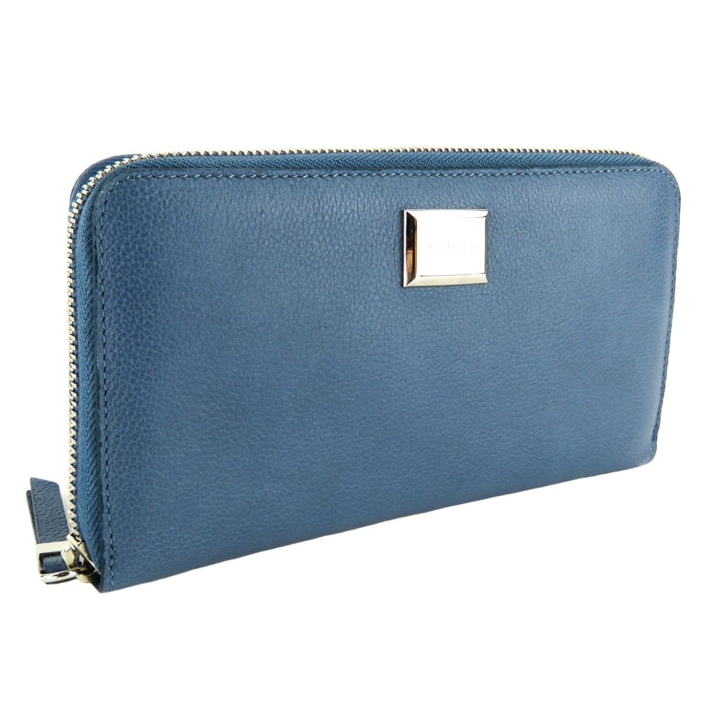 Jimmy Choo Stone Blue Grainy Calf Leather Malou Large Zip Wallet - Wallet