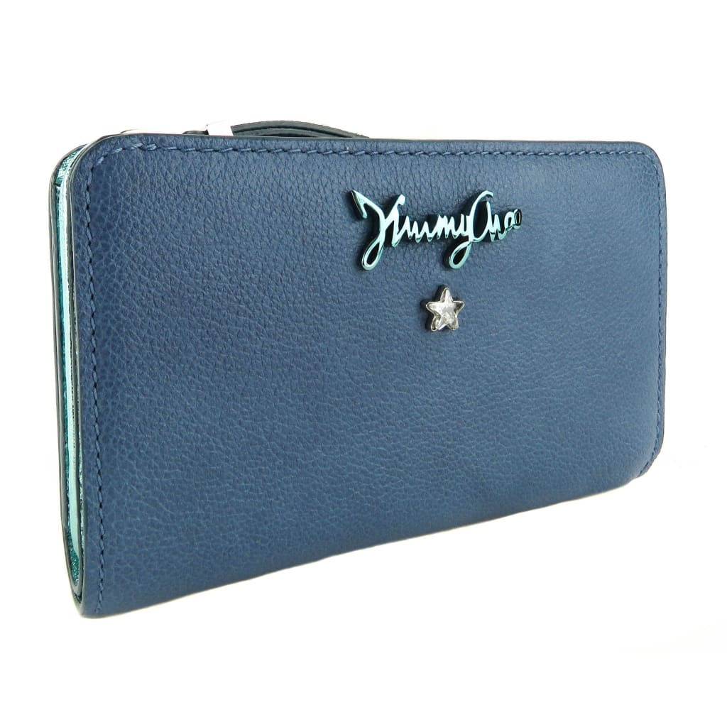 Jimmy Choo Stone Blue Grainy Calf Leather Ollie Wallet - Wallet
