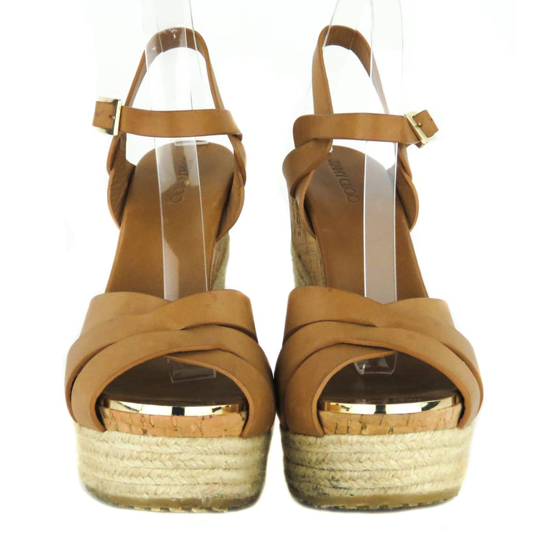 Jimmy Choo Tan Leather Peddle Platform Sandal Wedges - Wedges