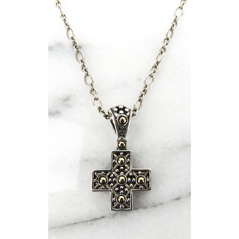 John Hardy 18K Gold Sterling Silver Cross Pendant Necklace - Necklace