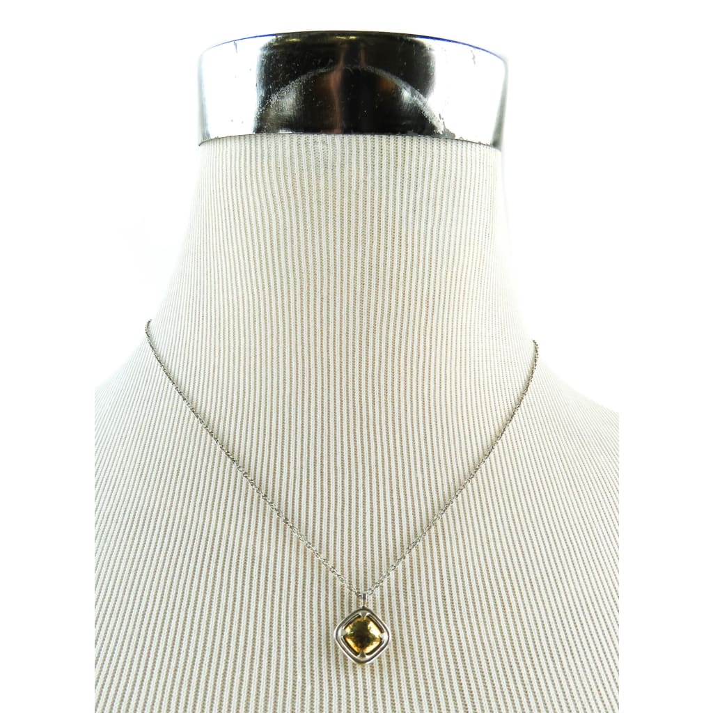 John Hardy 18K Gold Sterling Silver Hammered Square Pendant Necklace - Necklace