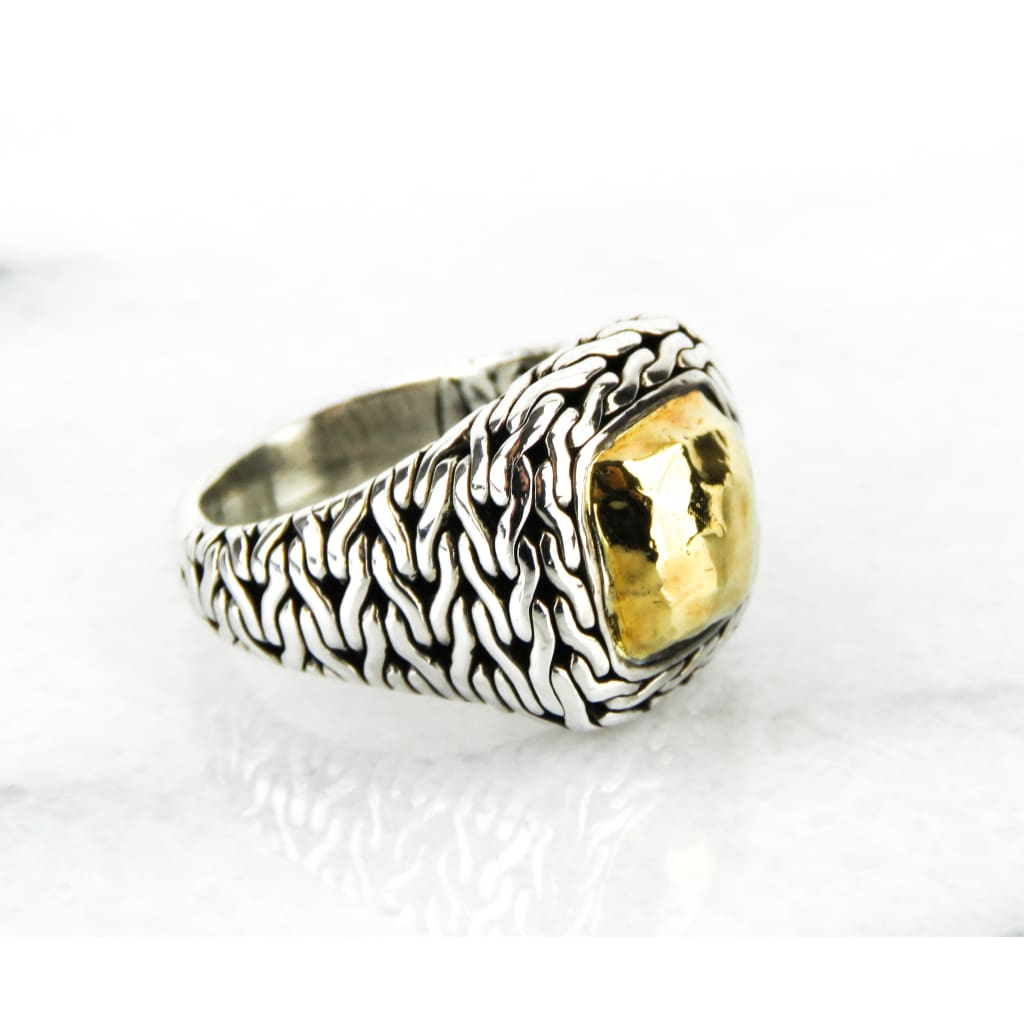 John Hardy 22K Gold Sterling Silver Classic Mens Ring - Ring
