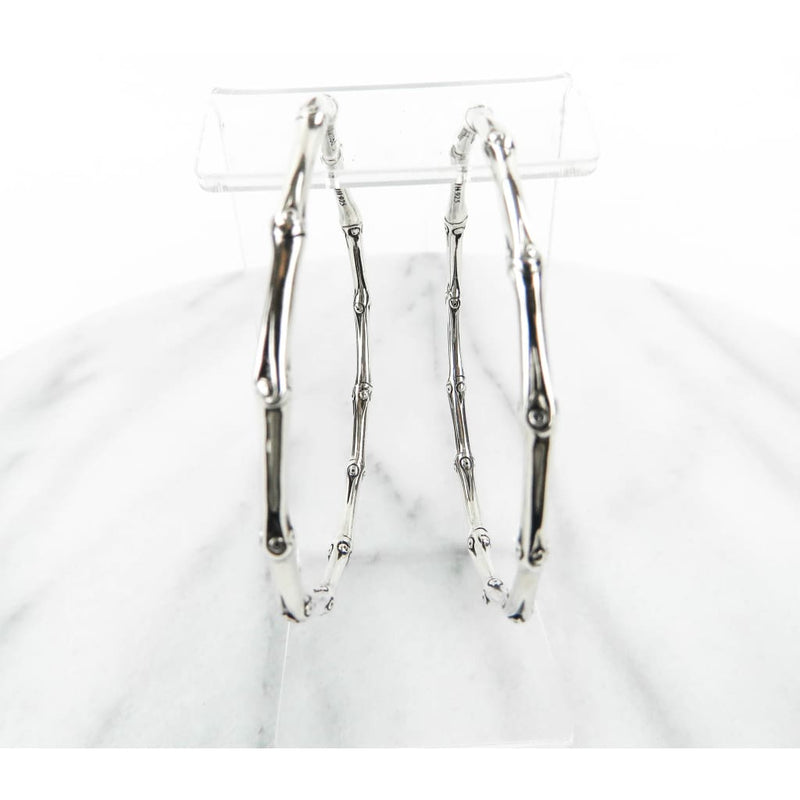 John Hardy Sterling Silver Bamboo Shaped Hoop Earrings - Earrings