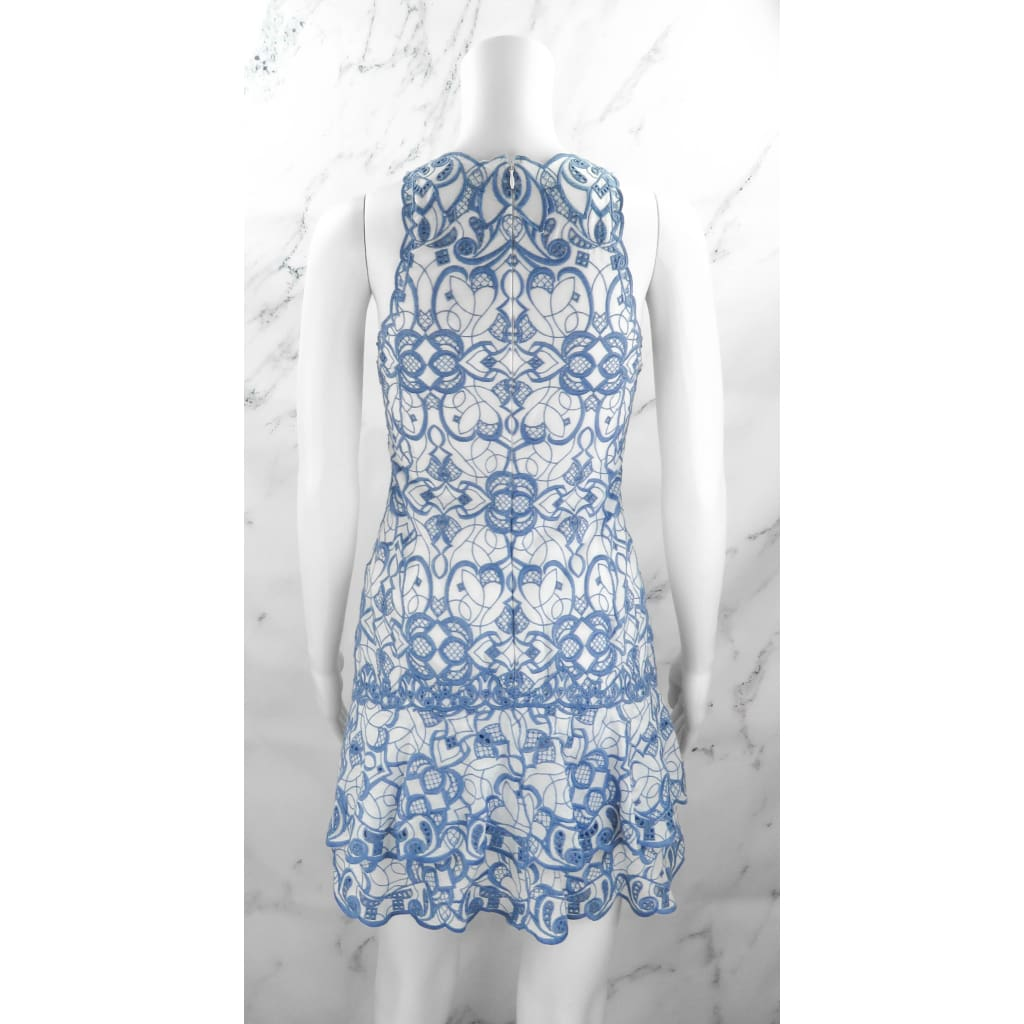 Johnathan Simkhai Blue and White Cotton Size Embroidered Sleeveless Dress - Dress
