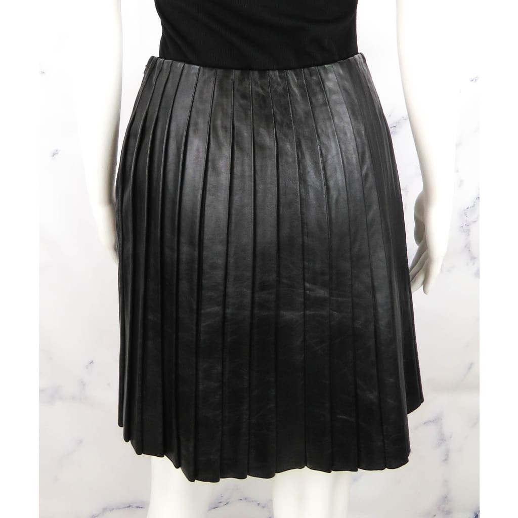 Jon Black Leather Pleated Size 6 Skirt - Skirt