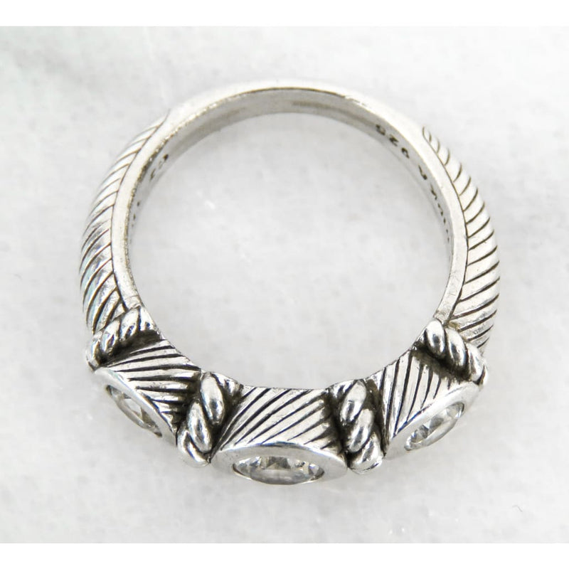 Judith Ripka Sterling Silver Twisted Rope Triple Diamonique Ring - Ring