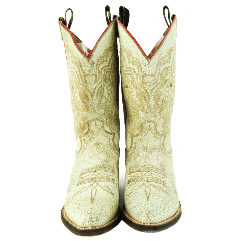 Justin White Crackle Leather Vintage Cowboy Boots - Boots/rain Boots