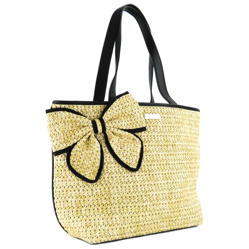 Kate Spade Beige Natural Woven Straw Belle Place Tote Bag - Totes