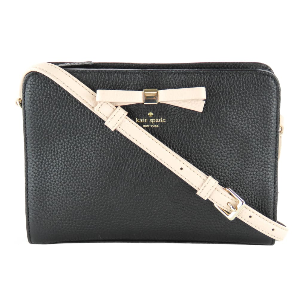 3293c795b ... kate spade black and beige leather henderson st fannie crossbody bag ...