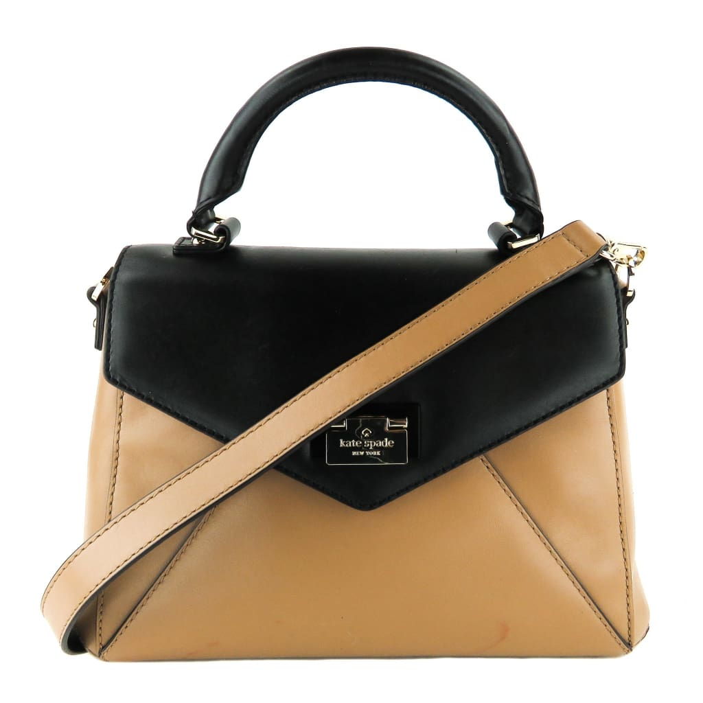 Kate Spade Black and Taupe Leather Terrace Drive Little Nadine Satchel Bag - handbags