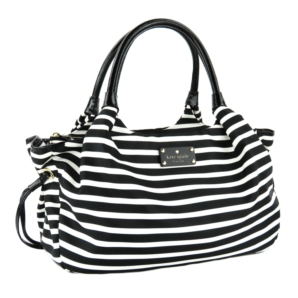 Kate Spade Black and White Nylon Striped Stevie Shoulder Bag - Shoulder Bags
