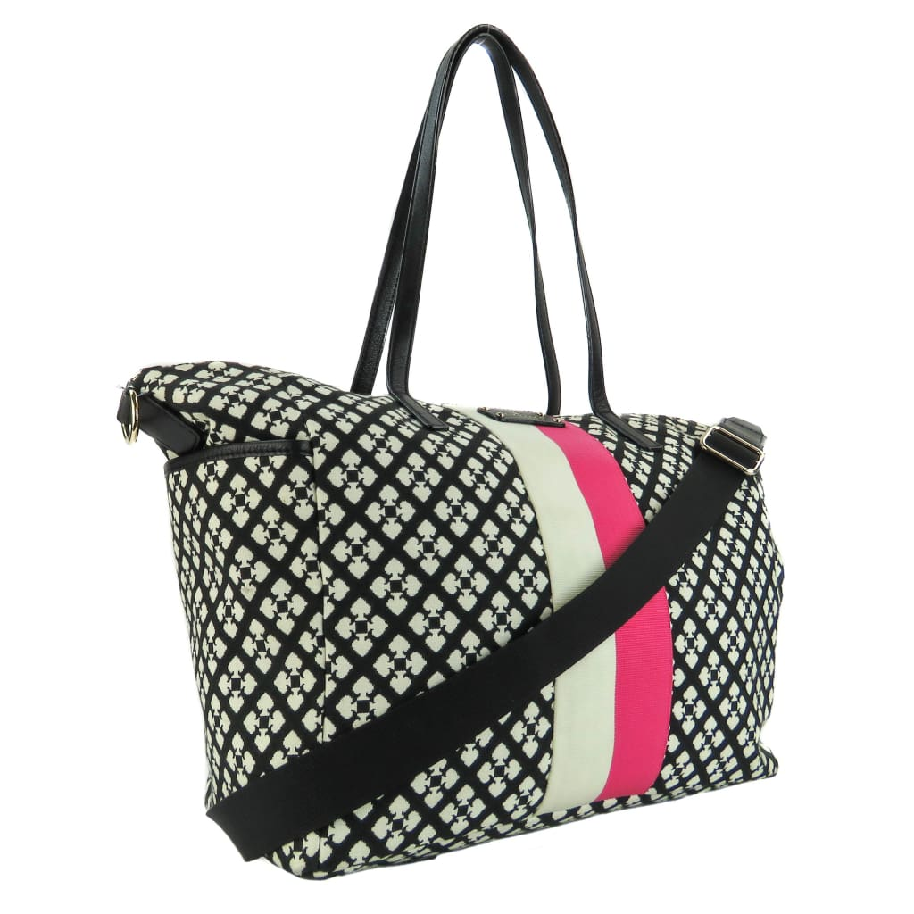 Kate Spade Black Canvas Printed Adaria Zip Diaper Bag - Messengers/diaper Bags